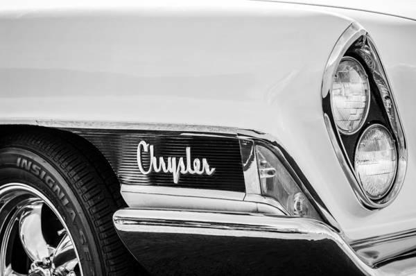 Photograph - 1962 Chrysler Head Light Emblem -0445bw by Jill Reger