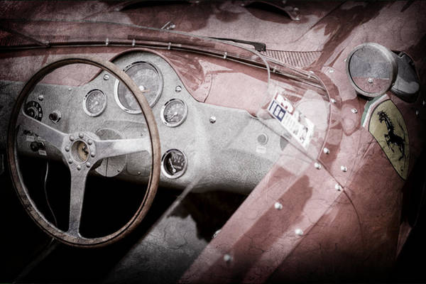 Wall Art - Photograph - 1962 Ferrari 196 Sp Dino Fantuzzi Spyder Steering Wheel Emblem -1529ac by Jill Reger
