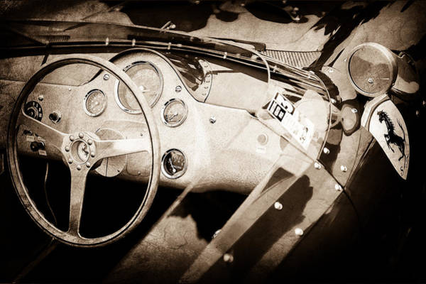 Wall Art - Photograph - 1962 Ferrari 196 Sp Dino Fantuzzi Spyder Steering Wheel Emblem -1529s by Jill Reger