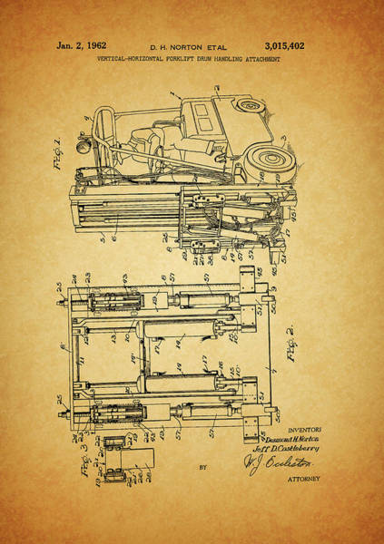 Wall Art - Mixed Media - 1962 Forklift Patent by Dan Sproul