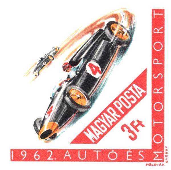 Wall Art - Digital Art - 1962 Hungary Motorsport Automobile Race Stamp by Retro Graphics