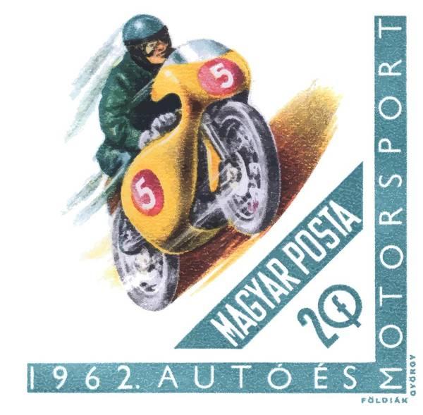 Wall Art - Digital Art - 1962 Hungary Motorsport Motorcycle Stamp by Retro Graphics