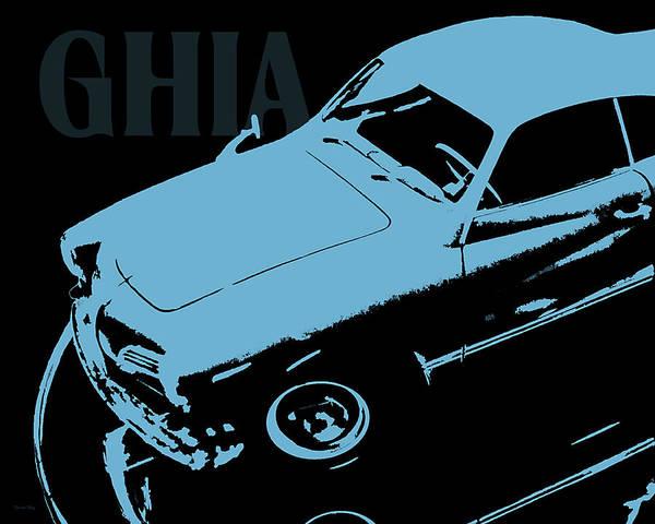 Wall Art - Digital Art - 1962 Karmann Ghia Pop Art Blue by David King