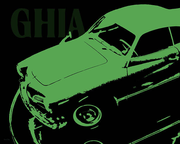 Digital Art - 1962 Karmann Ghia Pop Art Green by David King