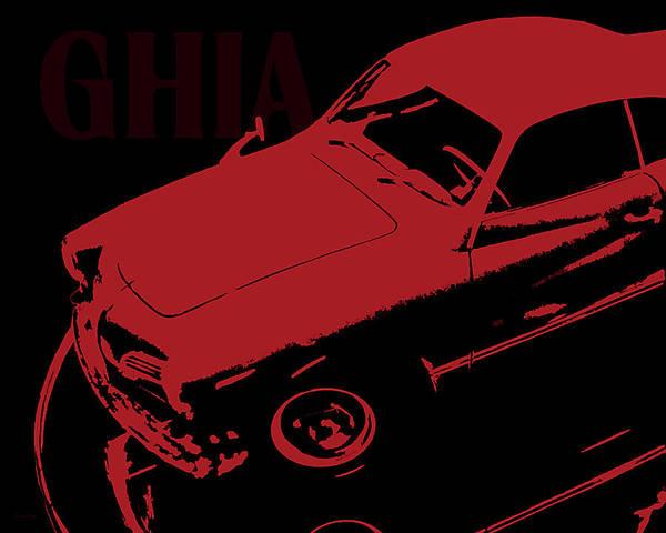 Digital Art - 1962 Karmann Ghia Pop Art Red by David King