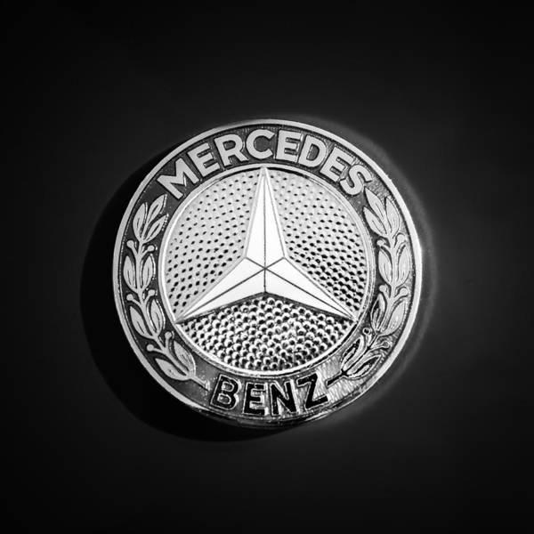 Wall Art - Photograph - 1962 Mercedes-benz 300sl Roadster Emblem -0382bw by Jill Reger