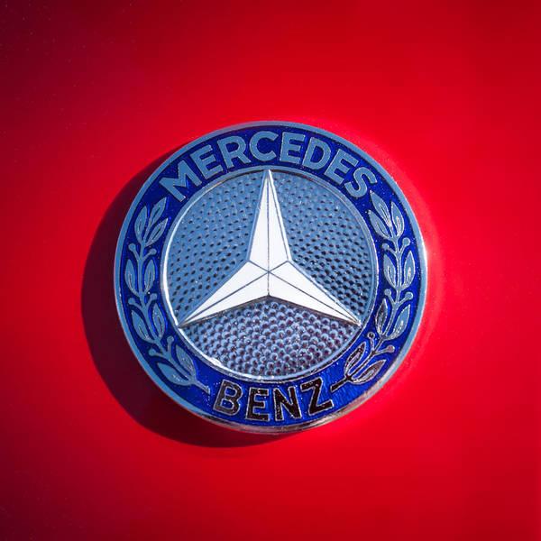 Wall Art - Photograph - 1962 Mercedes-benz 300sl Roadster Emblem -0382c by Jill Reger