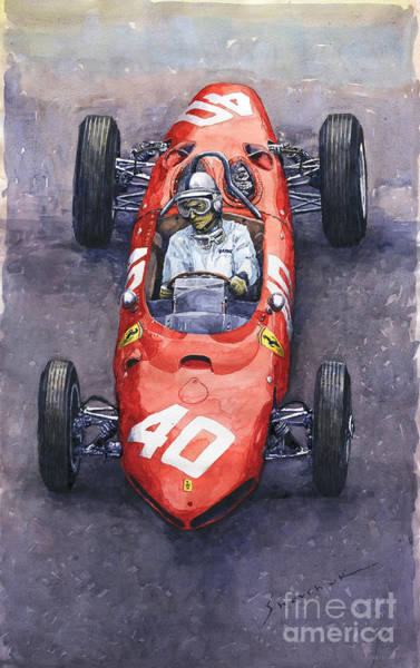 Autosport Wall Art - Painting - 1962 Monaco Gp Willy Mairesse Ferrari 156 Sharknose by Yuriy Shevchuk