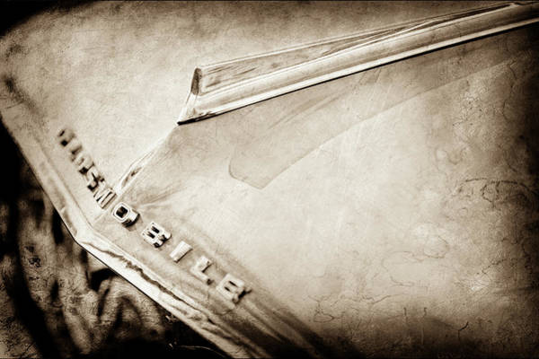 Wall Art - Photograph - 1962 Oldsmobile Hood Ornament And Emblem -0598s by Jill Reger