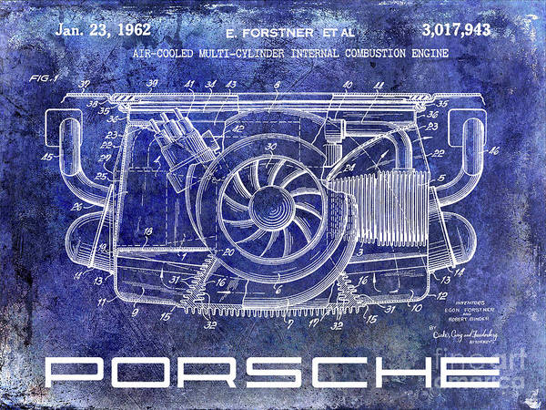Wall Art - Photograph - 1962 Porsche Engine Patent Blue by Jon Neidert
