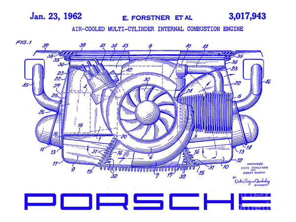 Wall Art - Photograph - 1962 Porsche Engine Patent Blueprint by Jon Neidert