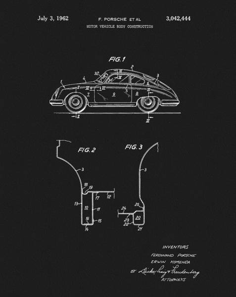 Mixed Media - 1962 Porsche Patent by Dan Sproul