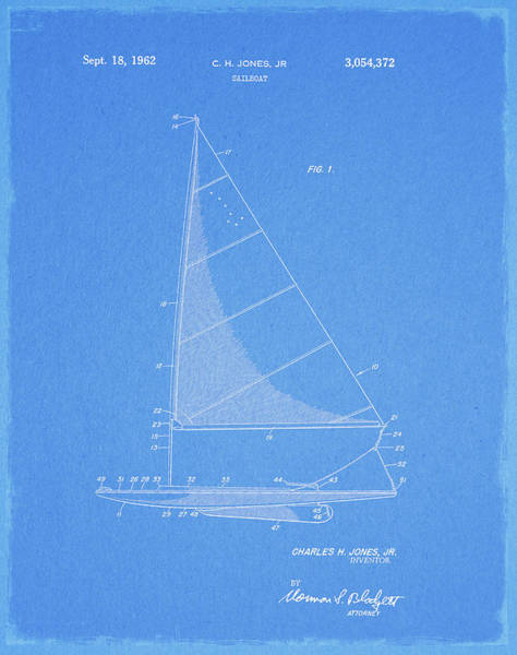 Drawing - 1962 Sailboat Patent by Dan Sproul