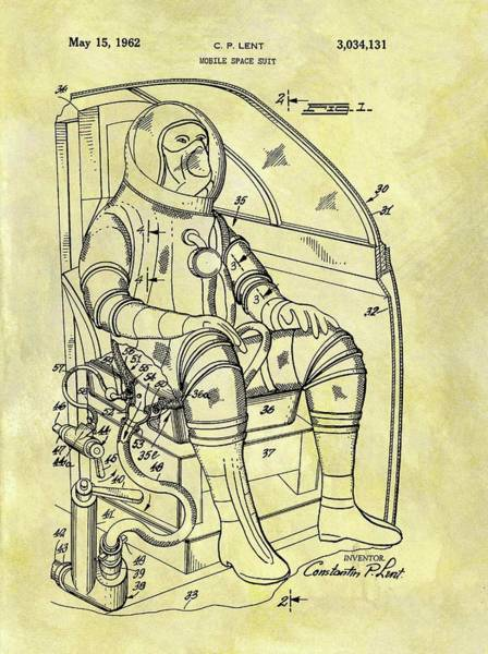 Wall Art - Drawing - 1962 Space Suit Patent by Dan Sproul