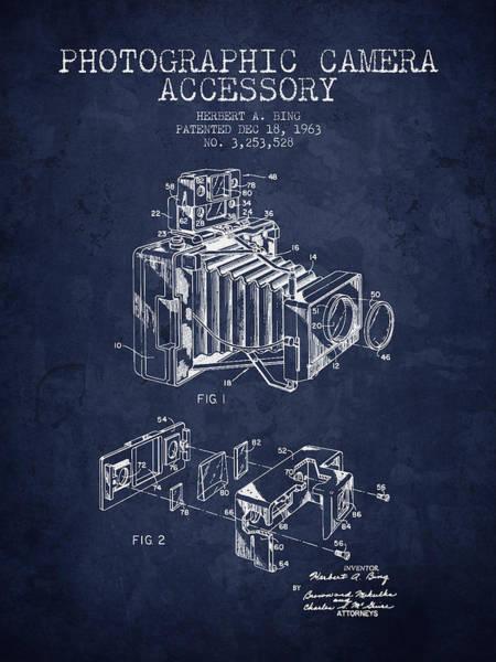 Lens Digital Art - 1963 Camera Patent - Navy Blue - Nb by Aged Pixel
