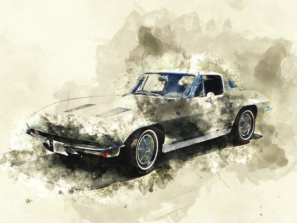 Wall Art - Mixed Media - 1963 Chevrolet Corvette by Kevin O'Hare