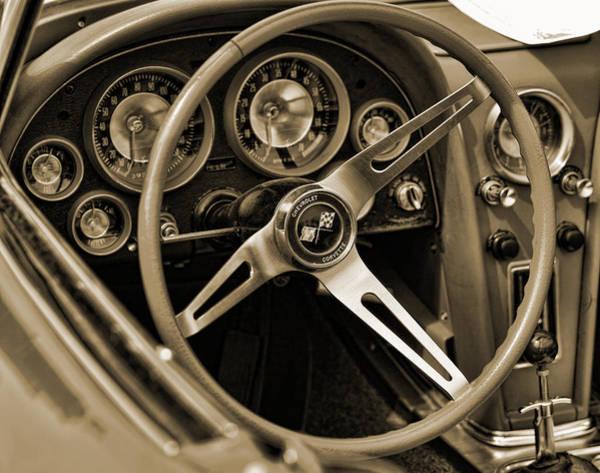 Drag Racing Photograph - 1963 Chevrolet Corvette Steering Wheel - Sepia by Gordon Dean II