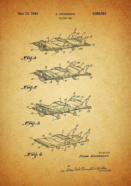 Wall Art - Mixed Media - 1963 Flying Car Patent by Dan Sproul
