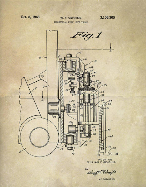 Wall Art - Mixed Media - 1963 Lift Truck Patent by Dan Sproul