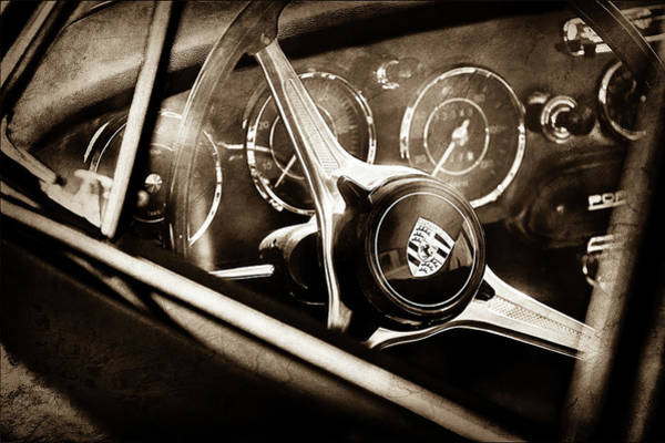 Wall Art - Photograph - 1963 Porsche 356 B 1600 Coupe Steering Wheel Emblem -1690s by Jill Reger