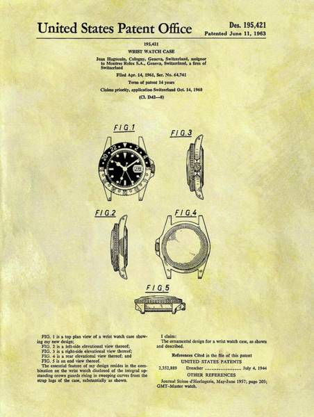 Patent Mixed Media - 1963 Rolex Watch Patent by Dan Sproul