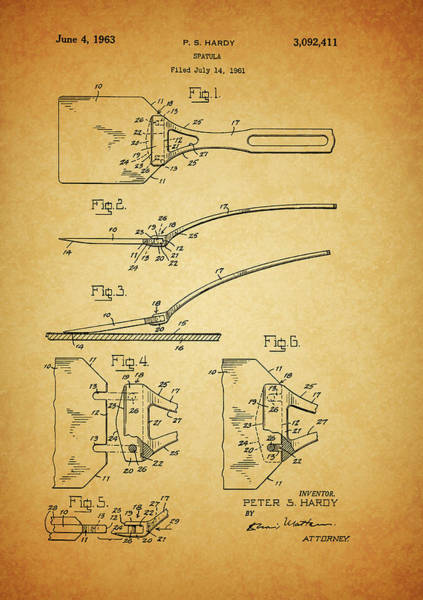 Eating Mixed Media - 1963 Spatula Patent by Dan Sproul