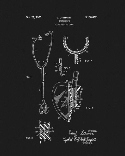 Drawing - 1963 Stethoscope Patent by Dan Sproul