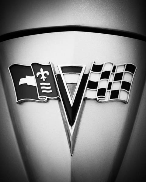 Photograph - 1964 Chevrolet Corvette Sting Ray Gm Styling Coupe Hood Emblem -0126bw45 by Jill Reger