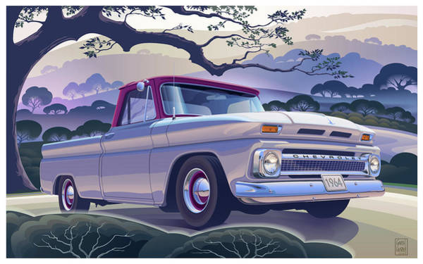 Truck Digital Art - 1964 Chevrolet Short Bed Custom Half Ton In The Morning Mist by Garth Glazier