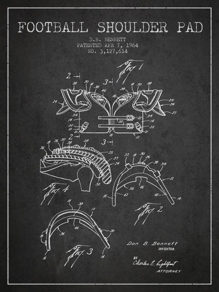 American Football Digital Art - 1964 Football Shoulder Pad Patent - Charcoal by Aged Pixel