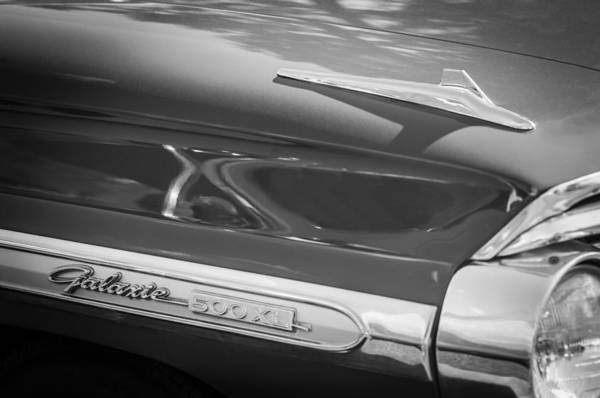 Wall Art - Photograph - 1964 Ford Galaxie 500 Xl Emblem -0042bw by Jill Reger