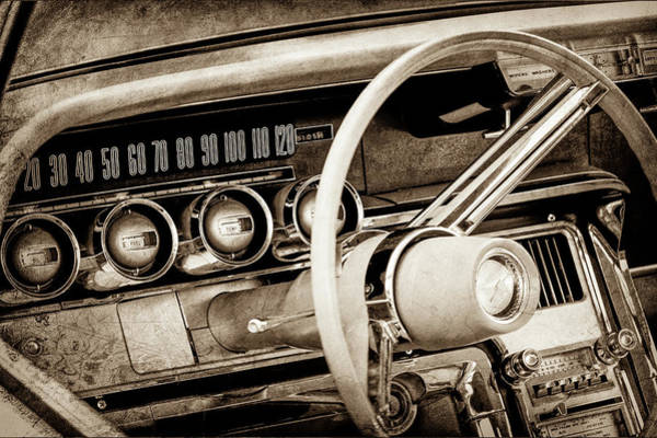 Wall Art - Photograph - 1964 Ford Thunderbird Steering Wheel -0280s by Jill Reger