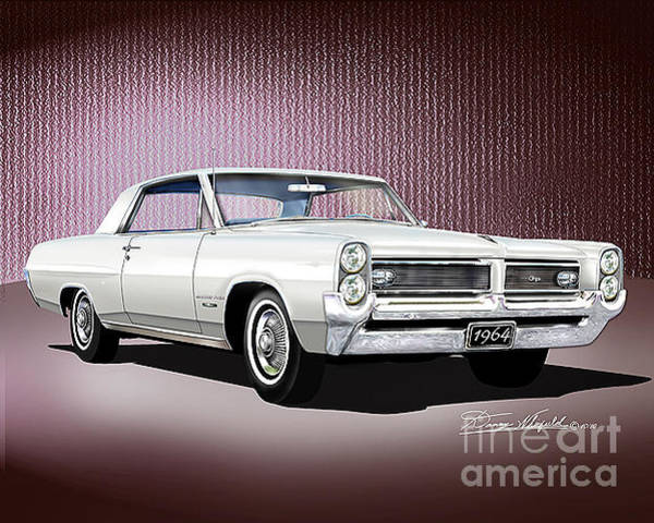 Car Drawings Mixed Media - 1964 Pontiac Grand Prix  by Danny Whitfield