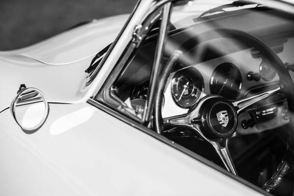 Photograph - 1964 Porsche 356c Steering Wheel Emblem -1421bw by Jill Reger