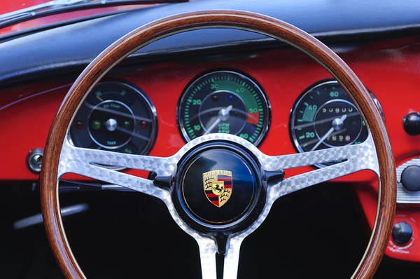 Steering Wheel Wall Art - Photograph - 1964 Porsche C Steering Wheel by Jill Reger
