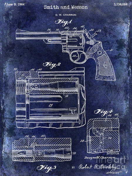 Wesson Photograph - 1964 Smith And Wesson Gun Patent Blue by Jon Neidert