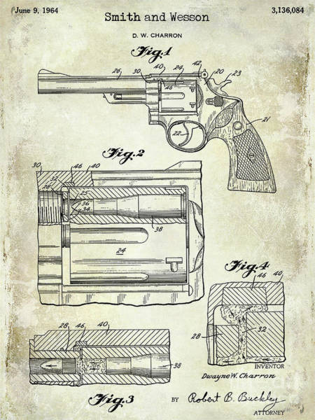 Wesson Photograph - 1964 Smith And Wesson Gun Patent by Jon Neidert