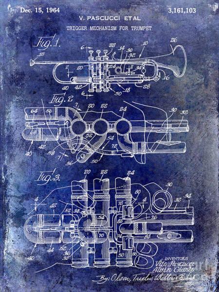 Trumpet Photograph - 1964 Trumpet Patent Blue by Jon Neidert