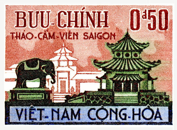 Wall Art - Digital Art - 1964 Vietnam Saigon Zoo Postage Stamp by Retro Graphics