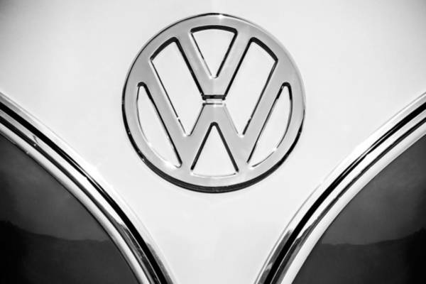 Photograph - 1964 Volkswagen Vw 21-window Bus  Emblem -0435bw by Jill Reger