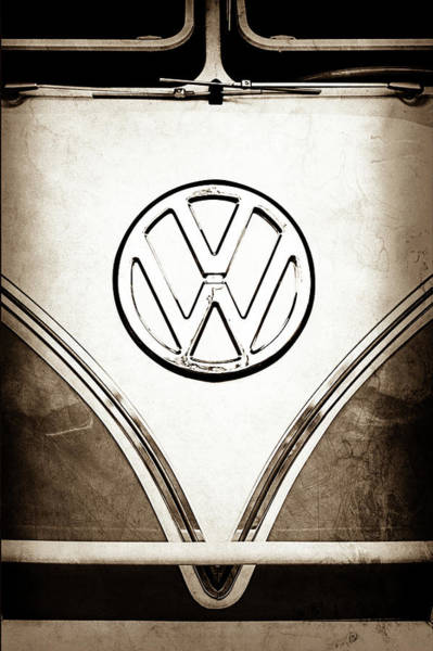 Photograph - 1964 Volkswagen Vw Samba 21 Window Bus Emblem -1307s by Jill Reger