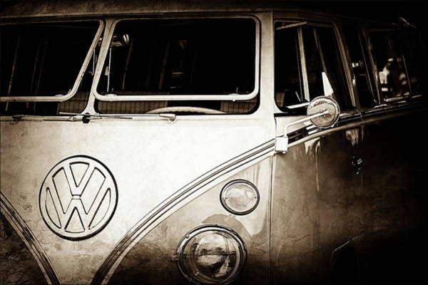 Photograph - 1964 Volkswagen Vw Samba 21 Window Bus Emblem -1313s by Jill Reger