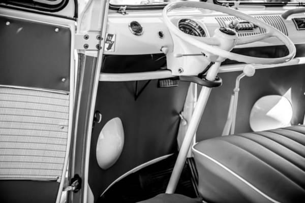 Wall Art - Photograph - 1964 Volkswagen Vw Steering Wheel -0298bw by Jill Reger