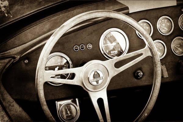 Ac Cobra Wall Art - Photograph - 1965 Ac Cobra Steering Wheel Emblem -1216s by Jill Reger