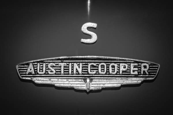 Mini Cooper Wall Art - Photograph - 1965 Austin Mini Cooper S Emblem -0649bw by Jill Reger