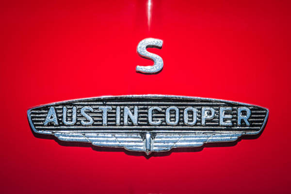 Mini Cooper Wall Art - Photograph - 1965 Austin Mini Cooper S Emblem -0649c by Jill Reger