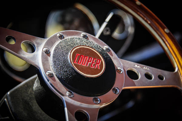 Mini Cooper Wall Art - Photograph - 1965 Austin Mini Cooper S Steering Wheel Emblem -0634c by Jill Reger
