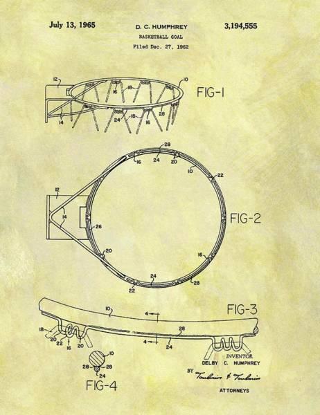 Nba Drawing - 1965 Basketball Hoop Patent by Dan Sproul