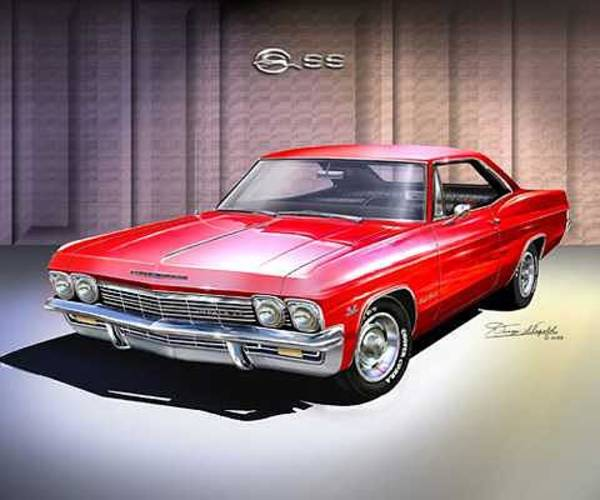 Car Drawings Mixed Media - 1965 Chevrolet Impala Ss by Danny Whitfield