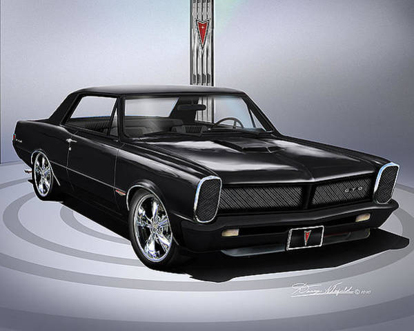 Car Drawings Mixed Media - 1965 Custom Pontiac Gto Coupe by Danny Whitfield
